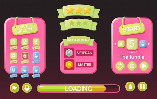 Conjunto de kit de interface do usuário do jogo engraçado