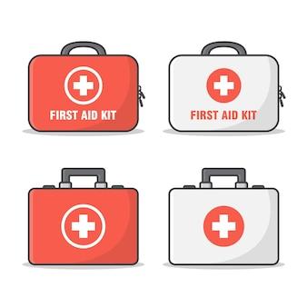 Conjunto de kit de primeiros socorros. mala médica plana