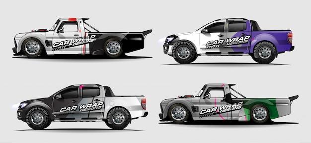 Conjunto de kit gráfico de veículo. abstrato moderno para carro embrulho branding e etiqueta do automóvel decalques libré