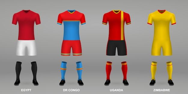 Conjunto de kits de futebol realista