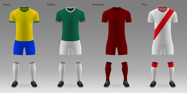 Conjunto de kits de futebol realistas