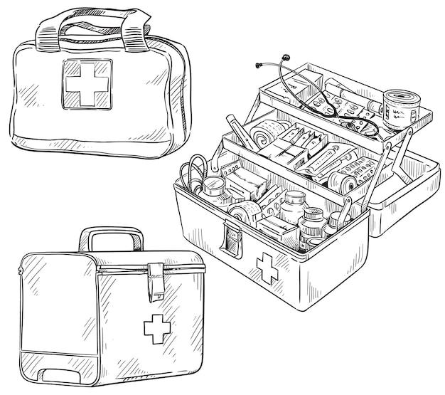 Conjunto de kits de primeiros socorros, desenho vetorial de arte de linha