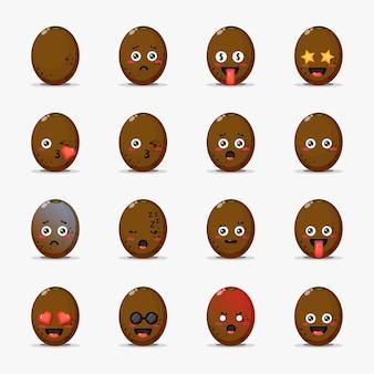 Conjunto de kiwi fofo com emoticons