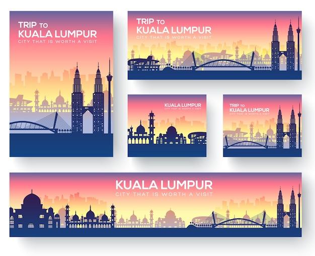 Conjunto de kuala lumpur paisagem país ornamento viagem conceito turístico