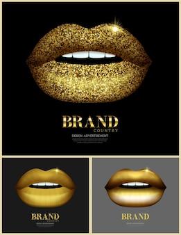 Conjunto de lábios brilhantes e brilhantes itens de beleza e bem-estar banner da moda com lábios dourados