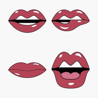Conjunto de lábios conjunto de adesivos e patches em estilo pop art e cartoon retrô boca feminina em quadrinhos