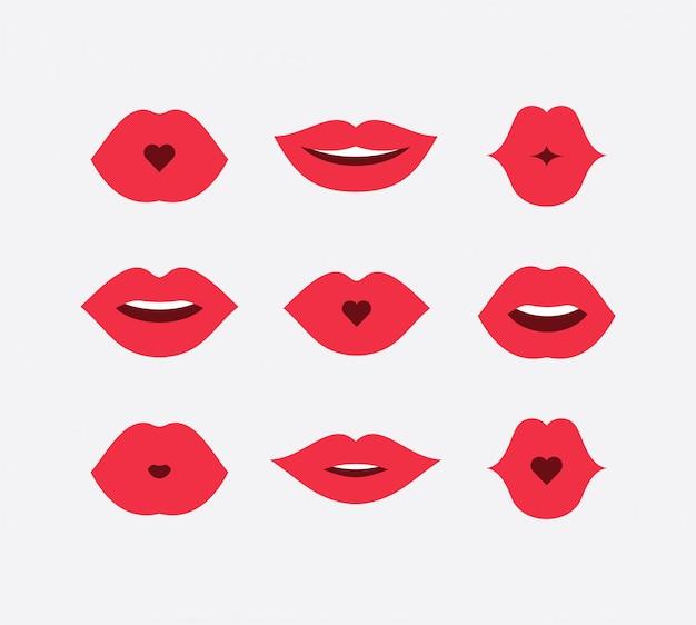 Conjunto de lábios de mulheres abstratas