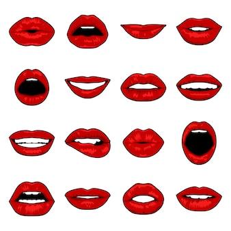 Conjunto de lábios de pop art