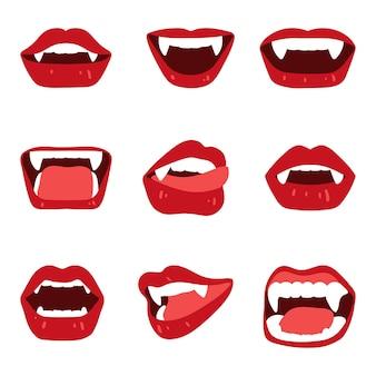 Conjunto de lábios de vampiro feminino com presas dentadas isoladas no branco. ilustração vetorial em estilo simples