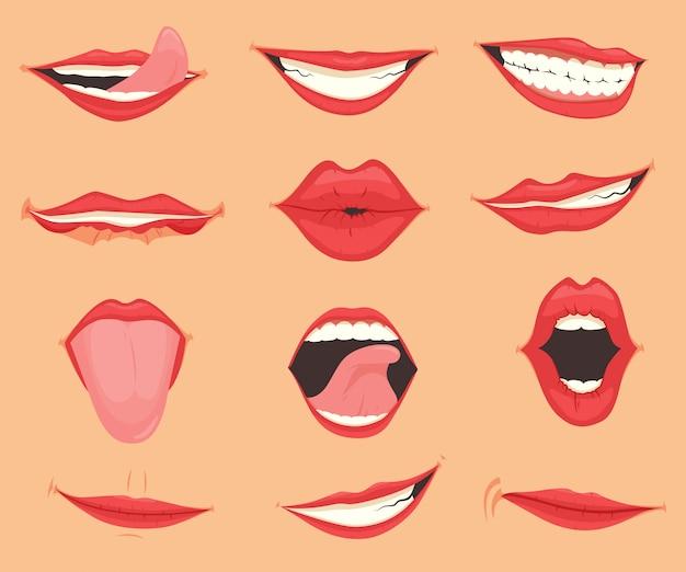 Conjunto de lábios femininos com várias emoções de boca e expressões. ilustração vetorial