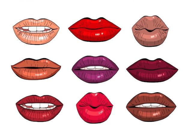 Conjunto de lábios femininos.