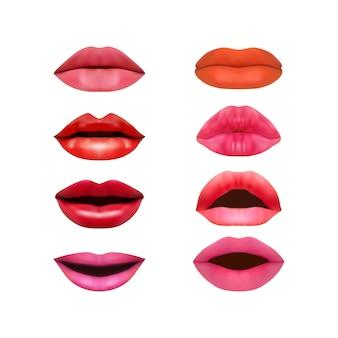 Conjunto de lábios fotorrealistas, isolado em um fundo branco.