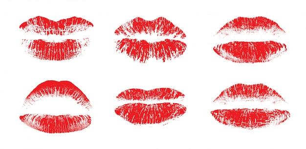 Conjunto de lábios lindos feminino