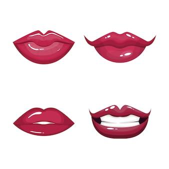 Conjunto de lábios sensuais vermelhos.