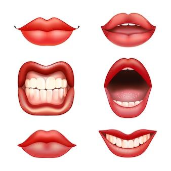 Conjunto de lábios vermelhos femininos com dentes