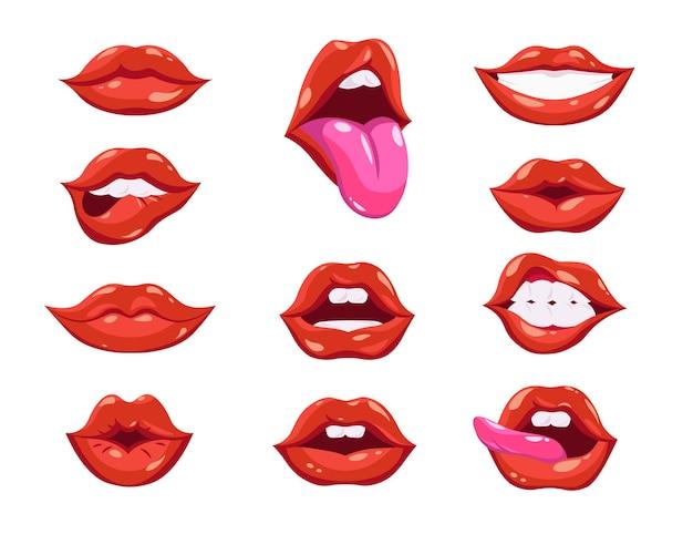 Conjunto de lábios vermelhos