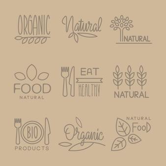 Conjunto de lables lineares handdrawn de alimentos bio