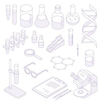 Conjunto de laboratório isométrico de linha fina. coleção de ilustração de linha fina científica