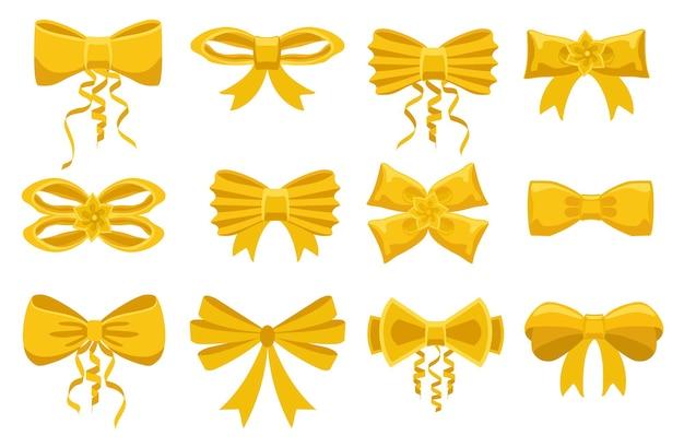 Conjunto de laços de cetim com fitas amarelas de desenho em arco dourado