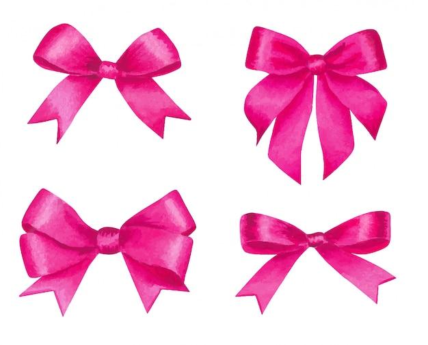 Conjunto de laços de cetim rosa aquarela.