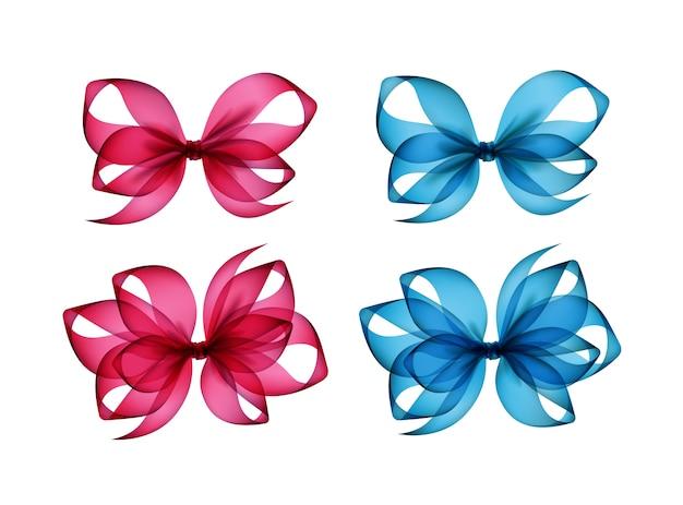 Conjunto de laços de presente coloridos rosa brilhante azul claro