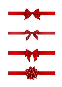 Conjunto de laços e fitas vermelhas