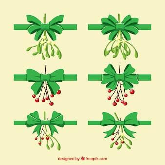 Conjunto de laços verdes com elementos naturais