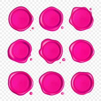 Conjunto de lacres de cera rosa. selo de selo de cera com gotas isoladas