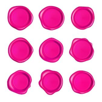 Conjunto de lacres de cera rosa.