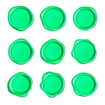 Conjunto de lacres de cera verde. conjunto de selo de selo de cera isolado no fundo branco.