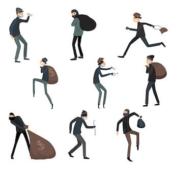 Conjunto de ladrões em máscaras e ternos pretos em diferentes situações de ação. ilustração em estilo cartoon plana.