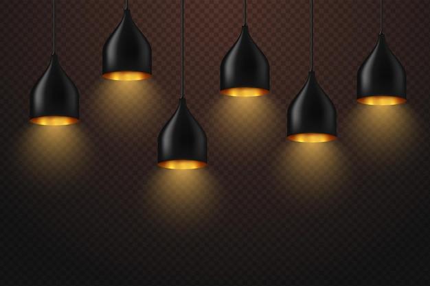 Conjunto de lâmpada brilhante realista pendurado no fio