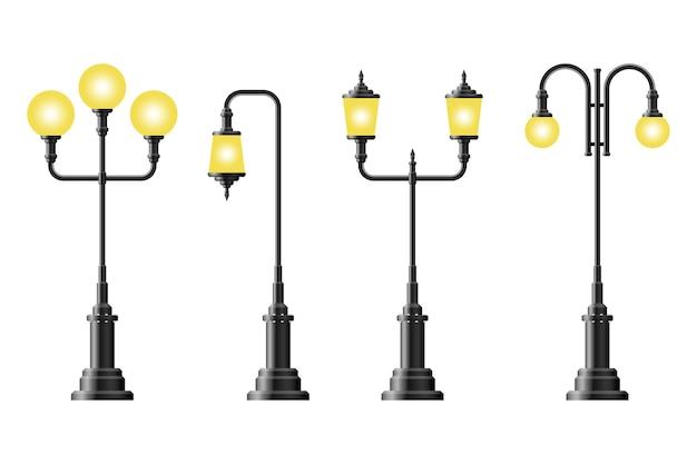 Conjunto de lâmpada de rua vintage realista