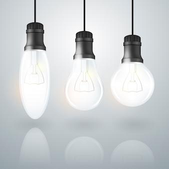 Conjunto de lâmpada transparente realista