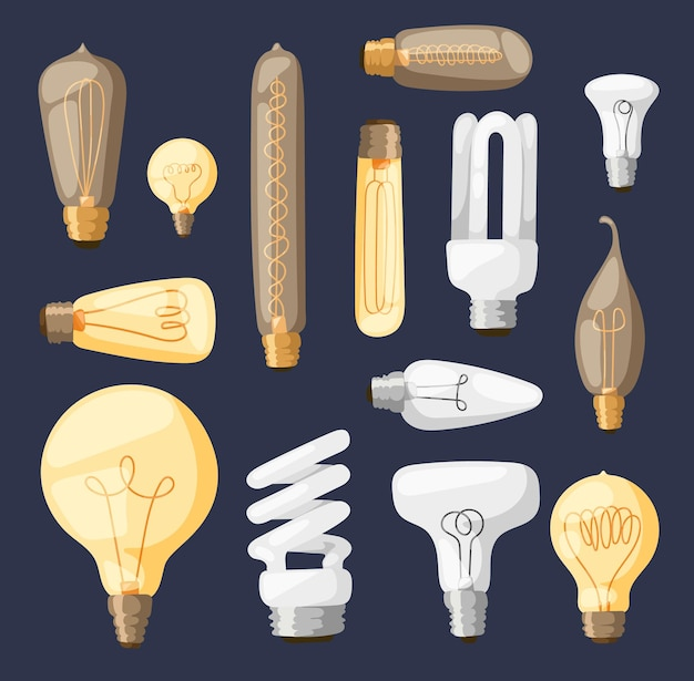 Conjunto de lâmpadas cartoon isoladas em azul