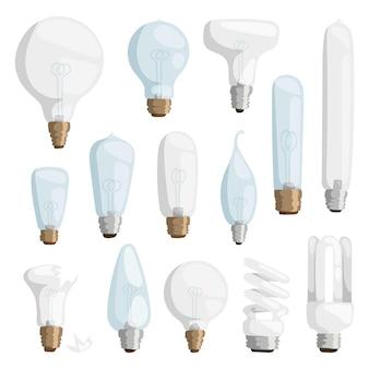 Conjunto de lâmpadas cartoon isoladas em branco