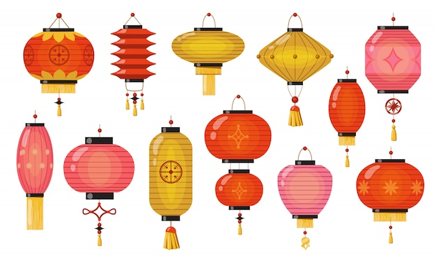Conjunto de lâmpadas chinesas