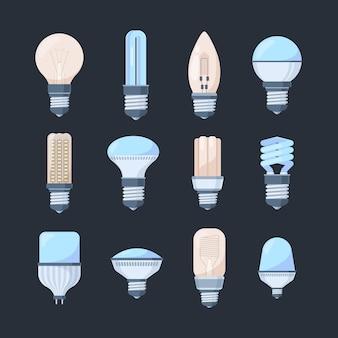 Conjunto de lâmpadas coloridas