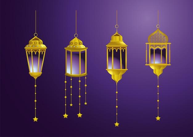 Conjunto de lâmpadas com estrelas penduradas decoração