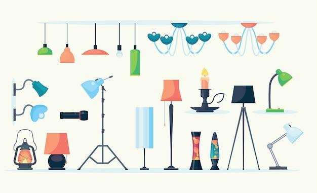 Conjunto de lâmpadas de diferentes cores e formas. objetos de vetor planos isolados no fundo branco