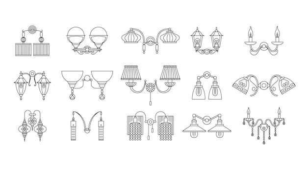 Conjunto de lâmpadas de parede