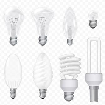 Conjunto de lâmpadas economizadoras de energia realista