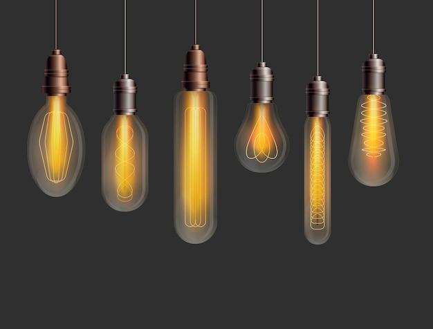 Conjunto de lâmpadas em estilo loft industrial isolado em fundo escuro