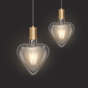 Conjunto de lâmpadas em forma de coração em estilo retro em substrato escuro lâmpadas incandescentes em estilo realista