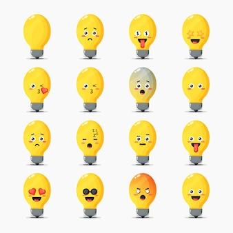 Conjunto de lâmpadas fofas com expressões