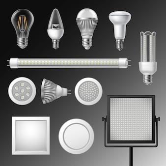 Conjunto de lâmpadas led realista