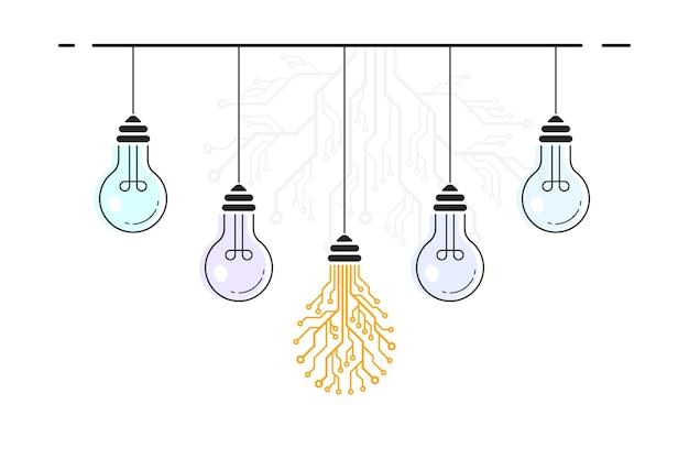 Conjunto de lâmpadas penduradas, sendo uma em forma de placa de circuito impresso