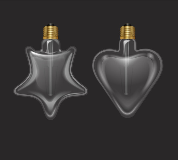 Conjunto de lâmpadas realistas em forma de estrela e coração em uma lâmpada de estilo retro
