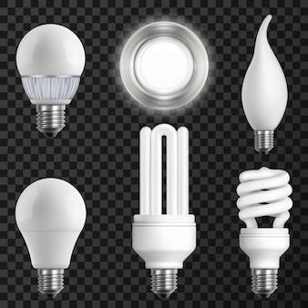 Conjunto de lâmpadas realistas