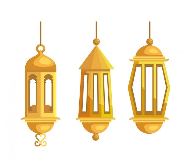 Conjunto de lâmpadas tradicionais, decoração de suspensão